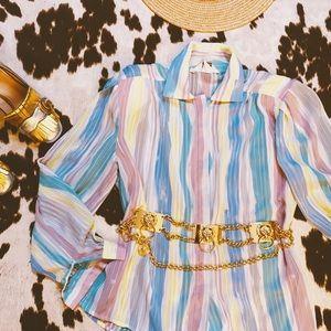 Vtg 80s Pastel Rainbow Striped Button Down Blouse